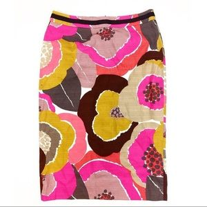 Boden Pencil Skirt Floral Mustard Turmeric Size 2